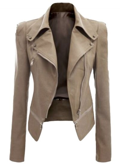 Fashion Slim Fit Motorcycle Zip PU Jacket OASAP.com