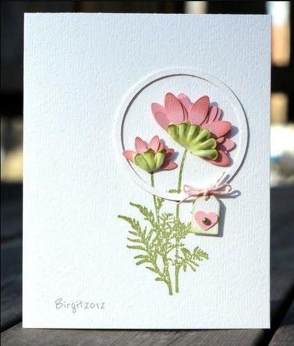 Дела, самодельная открытка живыми цветами