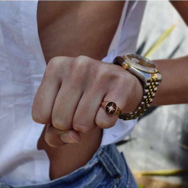 14kt rose gold and diamond Starburst signet ring – Luna Skye by Samantha Conn