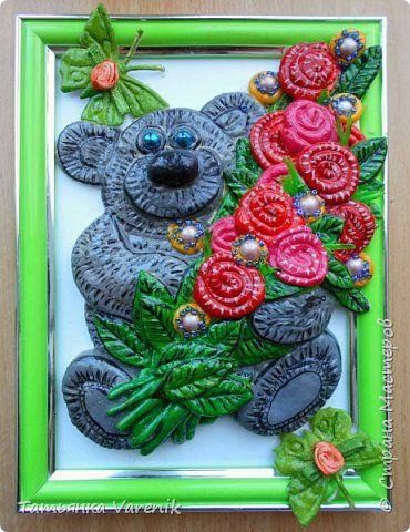 Картина панно рисунок Лепка Мишка с цветочками  Гуашь Тесто соленое