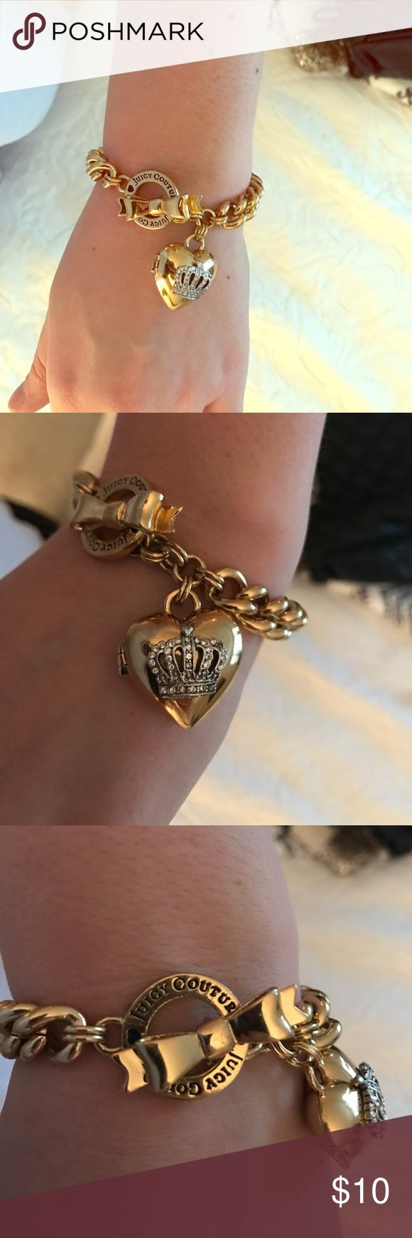 Juicy couture chain bracelet Perfect condition, gold chain bracelet with heart locket attached Juicy Couture Jewelry Bracelets