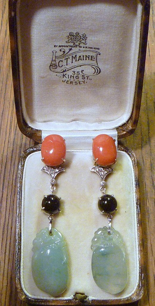 Vintage Coral, Jade, Onyx , and Diamond Earrings