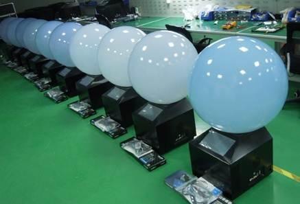 프로젝션 Ball 스크린 제조공장 출하전 모습(어안렌즈 등과 함께 공급)