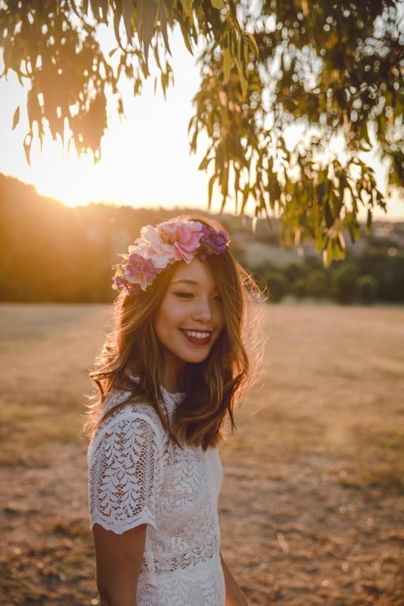 pink and purple wedding flower crown // spring flower crown / floral headpiece / colourful spring flower crown / bridal flower crown