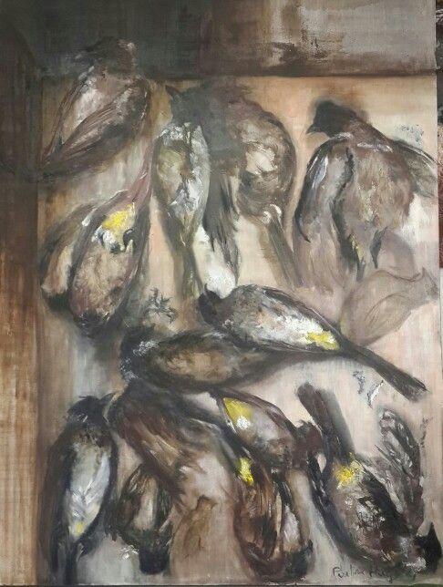 Pauline Hugo - Oil Painting. Bulbul birds at rest