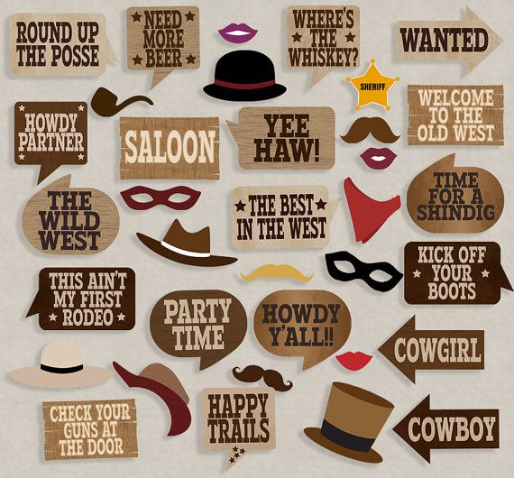 Cowboy Party props, diy photo booth printables - 19 x Speech Bubbles, 16 x Items… (Diy Birthday Props)