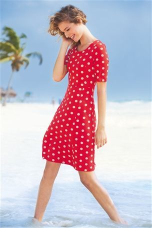 Jersey Spot Swing Dress #nextgetaway