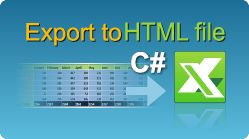 Export data to HTML file in C#.NET from ASP.NET web pages, windows applications, winforms, console applications! Spreadsheets in .NET. #EasyXLS #Excel #Export #HTML #CSharp