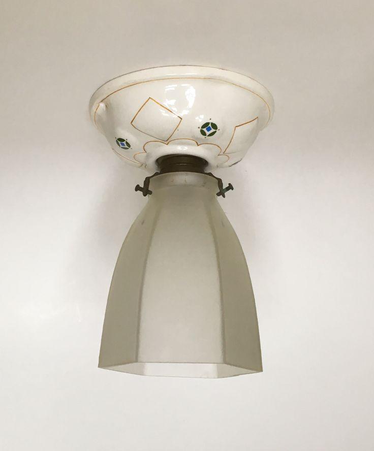 Ceiling lamp design Chris van der Hoef executed by Plateelbakkerij Zuid-Holland Gouda circa 1910. Dutch Nieuwe Kunst.
