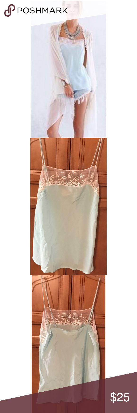 Anthropologie Pins & Needles 100% Silk Cami Shirt Anthropologie / Urban Outfitters Pins and Needles label. Wear as a top or as lingerie! So light and airy! Shocking neon colors and tea stain lace.  Adjustable straps too. 100% silk. Hand wash delicate cold lie flat to dry. Label crossed out. Length: 24 inches  Bust: 34 inches  Waist: 35 inches Anthropologie Tops Camisoles