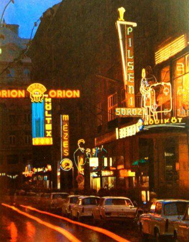 Budapest, 1970s. Kigyo utca with neon lights.