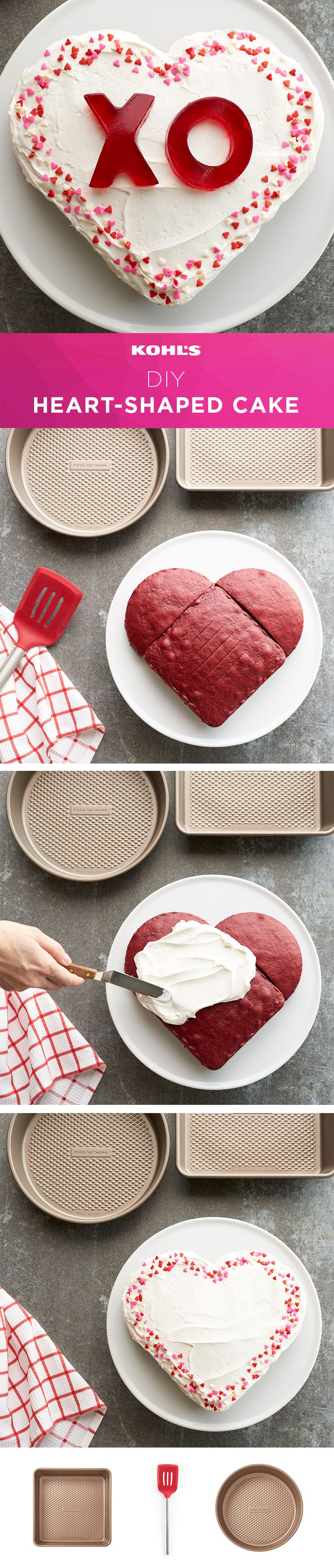 Sweet treats for your sweetheart is what Valentine's Day is all about. If you don't have a heart-shaped pan, don't worry. This hack is so great, we just had to share it! Make a heart-shaped cake by combining a square cake with a round cake that has been cut in half. Then decorate to your heart's content. Shop the cake pans at Kohl's. #valentinesday #bakinghack