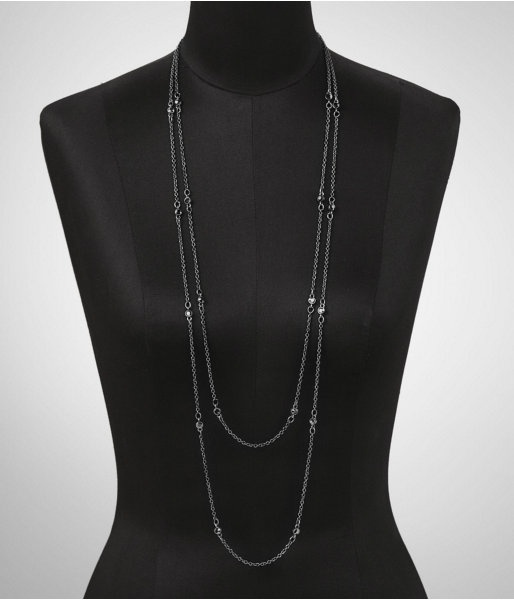 Express Womens Faceted Stone Necklace Hematite, No Size