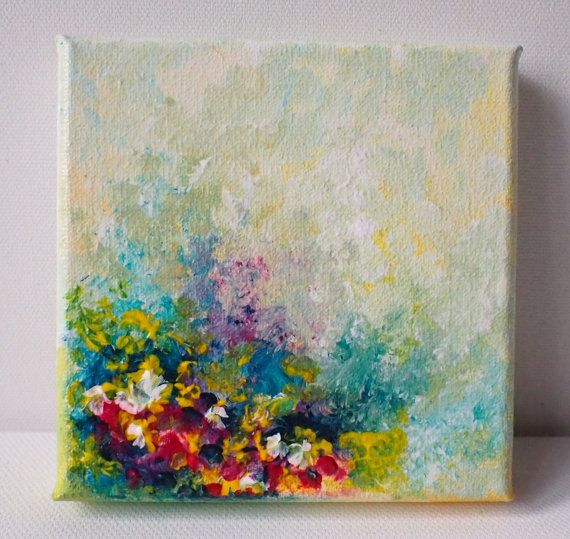 Original acrylic painting, floral abstract design on a miniature canvas by Stephanie Pollard.  Untitled  Size: 4 x 4 x 0.8 inches (10 x 10 x 2 cm) …