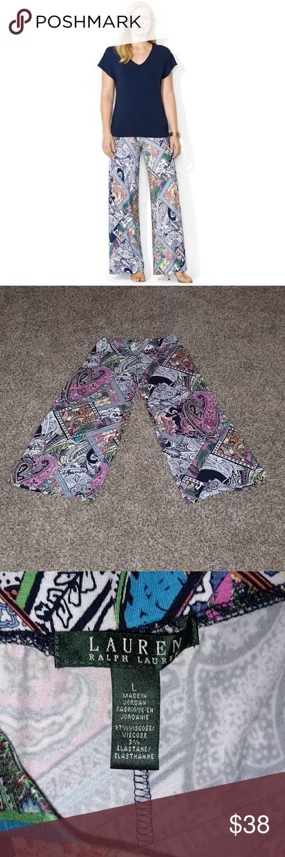 Ralph Lauren Blue Paisley Plazzo Pants Lauren Ralph Lauren Paisley plazzo pants. Size Large Ralph Lauren Pants Wide Leg