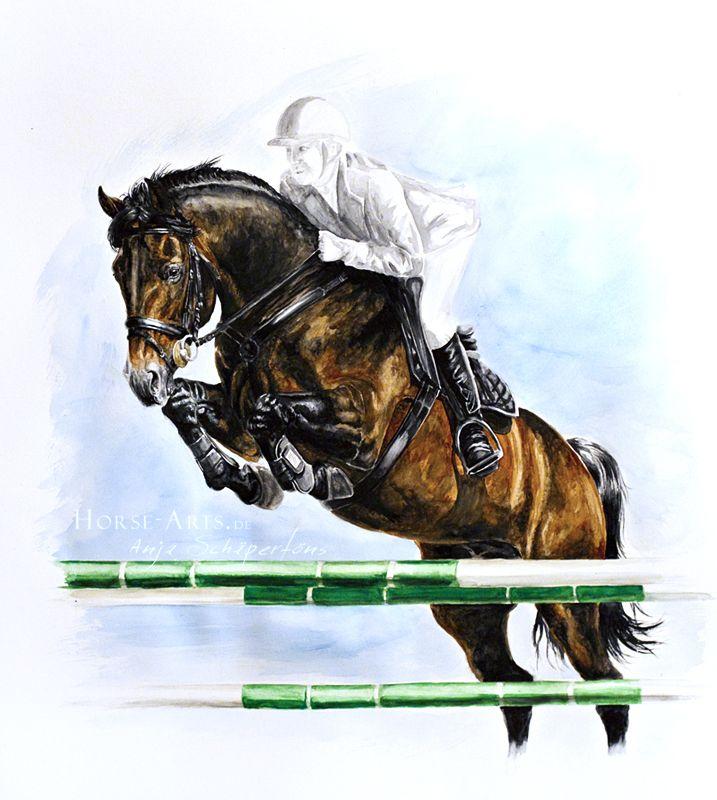 Jump by Oceansoul84 on deviantART ~ traditional watercolor ~ jockey on horse