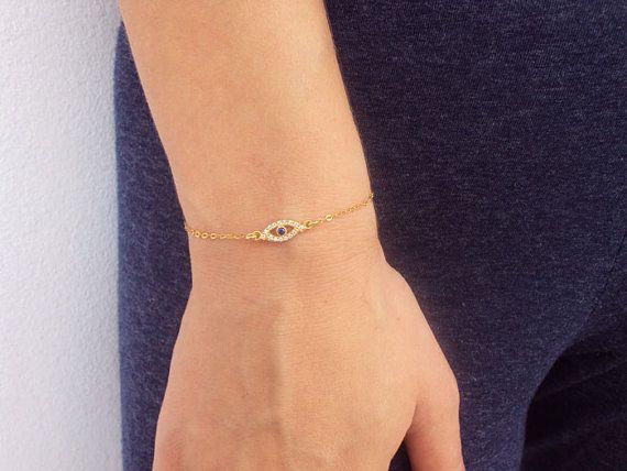 14K Gold Evil Eye Bracelet Dainty Evil Eye by VasiaAccessories