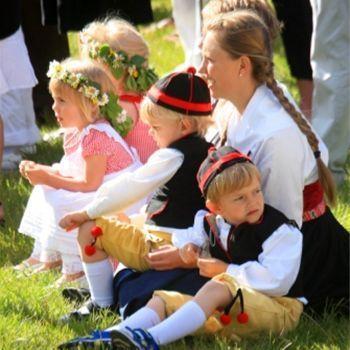 Swedish folk costumes during midsummer celebration. Leksand, perhaps?