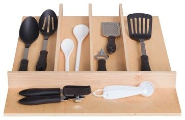 "Century Components TTUT18PF Wood Utensil Tray Drawer Organizer, 18"" x 22"" traditional-cabinet-and-drawer-organizers"