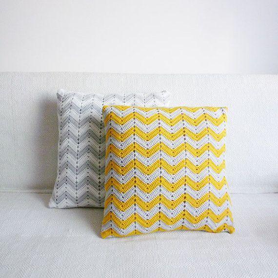 chevron travesseiro crochê.  # # Padrões de crochê