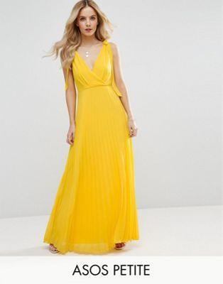 ASOS PETITE Cami Strap Tie Pleated Maxi Dress