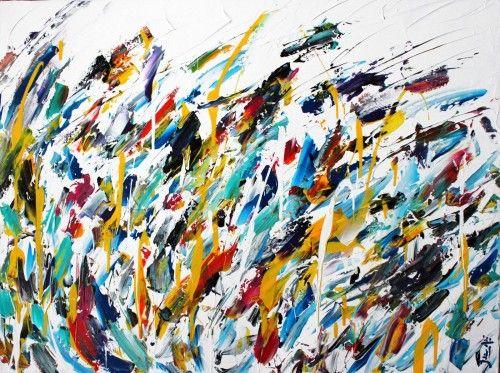 Abstract for SALE - Bleu vague 30x40 #abstract #art #painting Julien Aubé