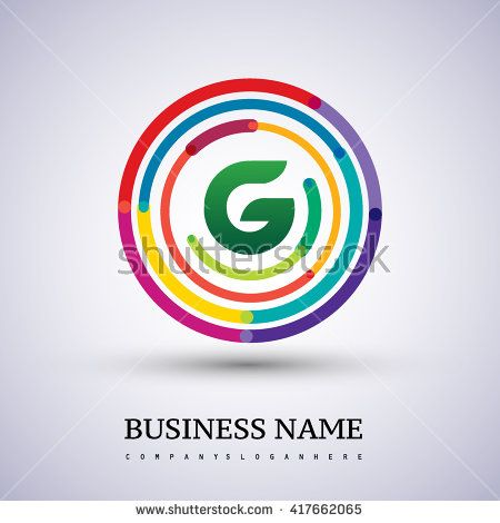 Letter G vector logo symbol in the colorful circle thin line. Vector design template elements for your application or company identity. - stock vector