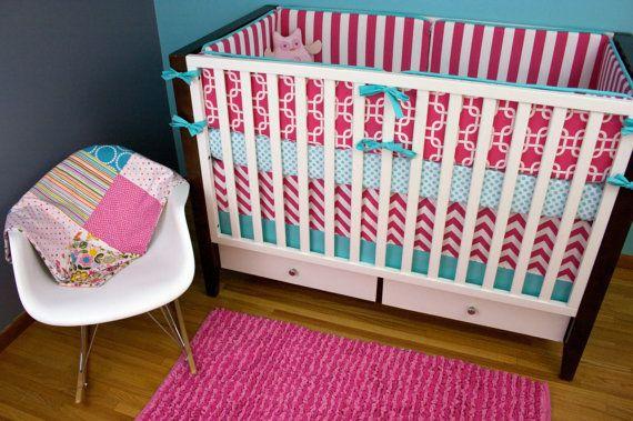 Ensemble de literie lit de bébé, lit literie, Aqua et rose pépinière berceau Set