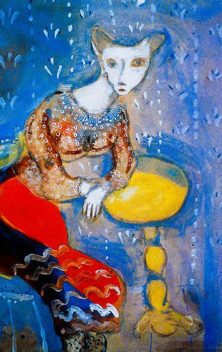 Marc Chagall - Between Surrealism & NeoPrimitivism - The Cat Transformed into a Woman La Chatte métamorphosée en Femme, 1927-28