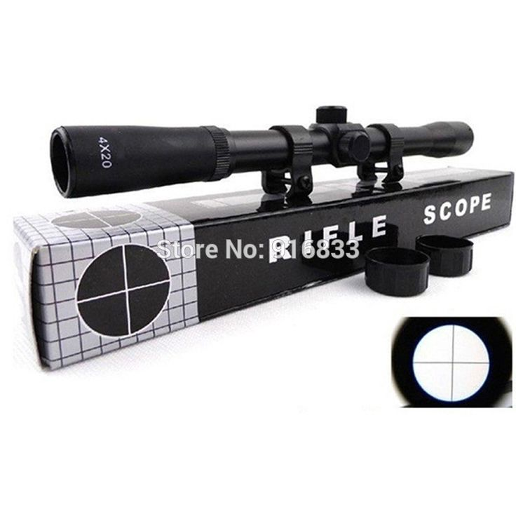 2016 Hot Sale Cheapest  4x20 outdoor Hunting optics Riflescopes Tactical Sight gun scope with mount For Shotgun
