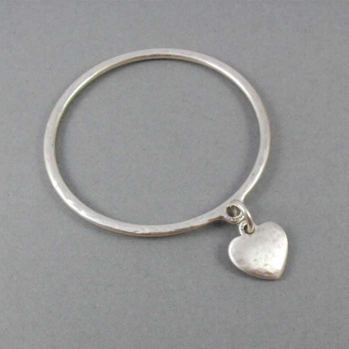 Handmade New Danon Silver Plated Chunky Heart Bangle, beautifully finished with a chunky silver heart charm.