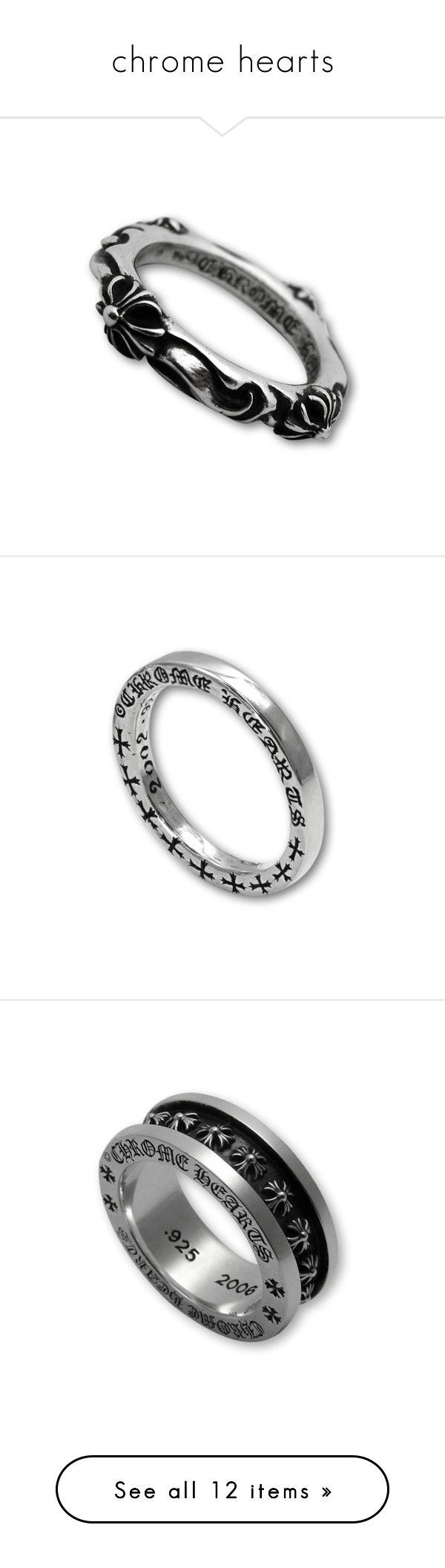 """chrome hearts"" by imani-riunge ❤ liked on Polyvore featuring jewelry, rings, chrome hearts, chrome hearts ring, chrome hearts jewelry, goth jewelry, gothic rings, silver jewellery, silver rings and silver jewelry"