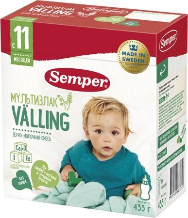 Semper Мультизлаковый вэллинг (с 11 месяцев) 435 г  — 465р. ---- Вэллинг молочный Semper мультизлаковый с 11 мес. 435 г разработан для детей с 11 месяцев. Ведь именно в этом возрасте малыш активно начинает познавать мир, перемещаться самостоятельно и все пробовать, а для этого ему требуется много энергии! Мультизлаковый вэллинг состоит из трех полезных злаков – овес, пшеница и рожь. Они прекрасно обогащают рацион ребенка, делают его разнообразным и полезным, а главное, заряжают организм…