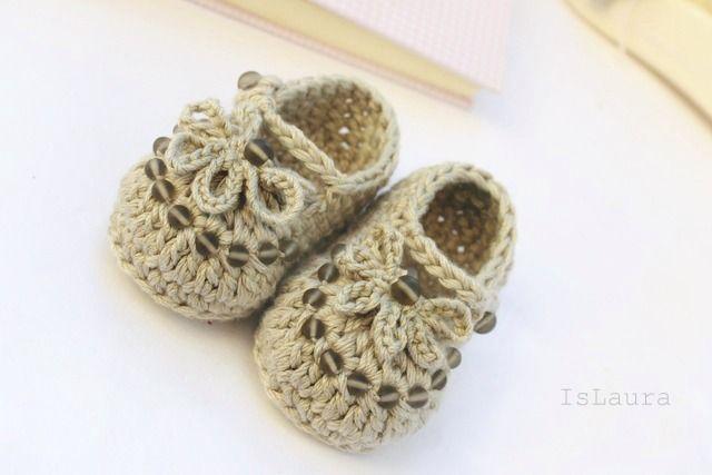 Sandalini a crochet per neonata : islaura