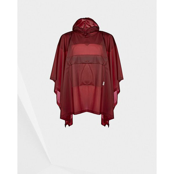 Hunter Red Clear Poncho ($230) ❤ liked on Polyvore featuring outerwear, red, hooded poncho, red poncho, waterproof poncho, style poncho and clear poncho