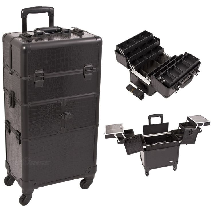 Black Croc 2-in-1 Makeup Trolley. Find it at TheCosmeticSpace.com!