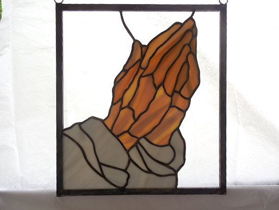 Items Similar To Stained Glass Praying Hands Clasped In Prayer These Are Made With A Brown Opal Small Panel Perfect Gift For Church Member On