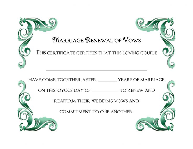 9 best souvenir weddingcommitment certificates images on pinterest a simple green frame of free printable wedding vows renewal certificate template yadclub Choice Image