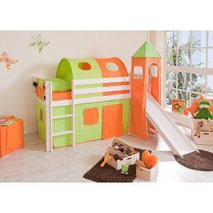 Halfhoogslaper met glijbaan en toren Kasper - massief grenen - wit gelakt - kleur groen-oranje - zonder tunnel