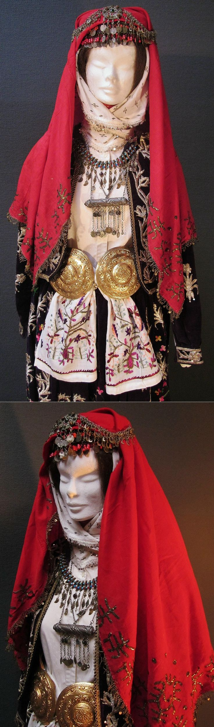 Close-up of a traditional bridal costume from the Bilecik province.  Urban style.  All items date from c. 1900-1925, except the gilt copper belt buckles, which were made in Beypazarı in the 1990s.  (Kavak Costume Collection - Antwerpen/Belgium).