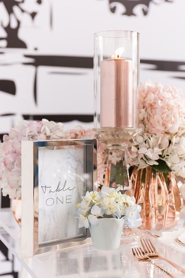 Mixed metals and crystal softened with hydrangeas for an upscale and lavish event, #copper #hydrangeas