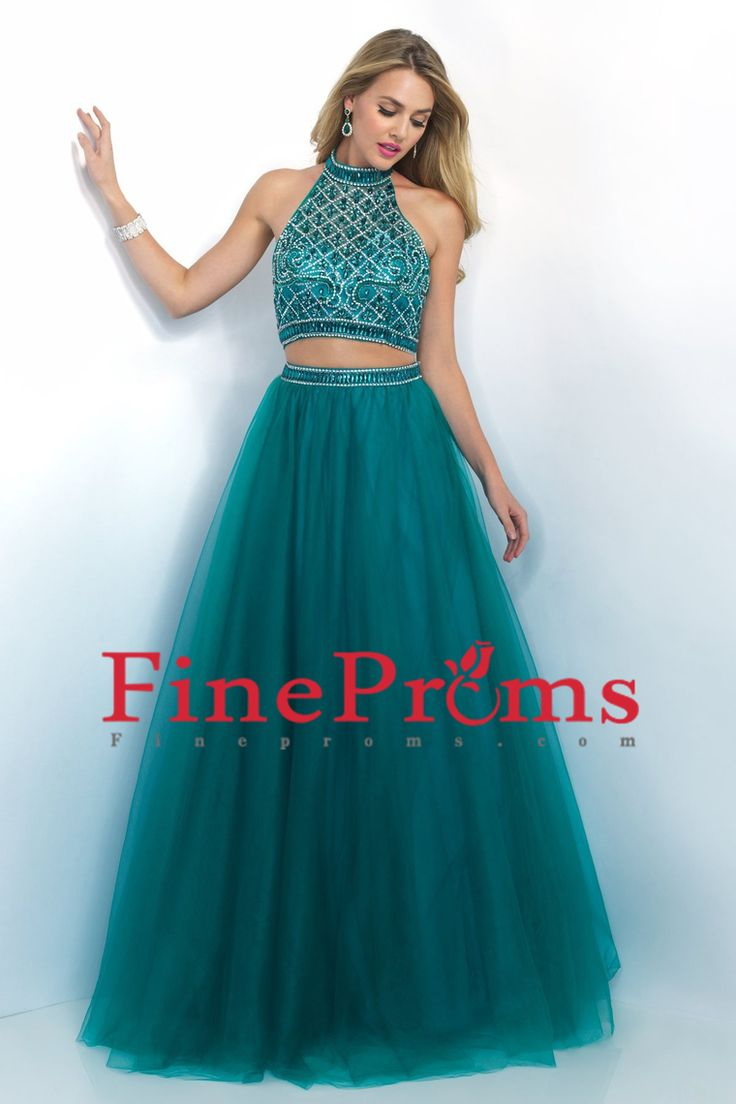 2016 Prom Dresses Two-Piece A Line Halter Open Back Beaded Bodice Tulle