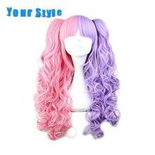 Uw Stijl Lange Synthetische Nep Haar Golvend Paardenstaarten Cosplay Pruiken Vrouwen Hoge Temp Hoge Temperatuur Fiber(China)