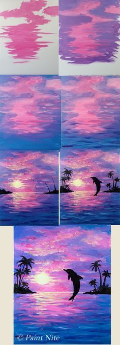 Step by step painting, Dolphin Joy beginner painting idea, Dolphin jumping into purple pink sunset.