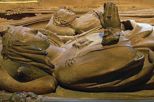 Queen Gertrude (Anna) of Hohenzollern, wife of Rudolf von Habsburg, of Hohenberg's tomb in the Münster of Basel (Died 1281). Count Karl von Habsburg, whose little son (died 1276).