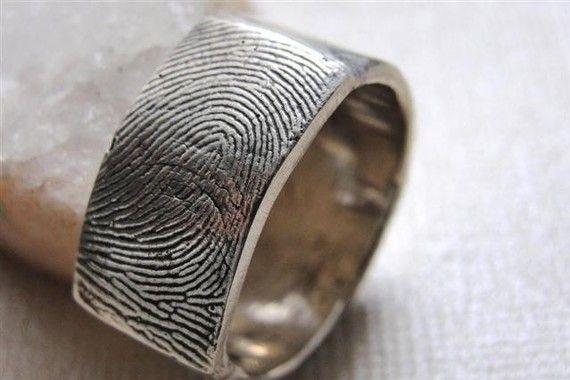 Love this-- Fingerprint Custom Ring Wedding Band in by rockmyworldinc on Etsy