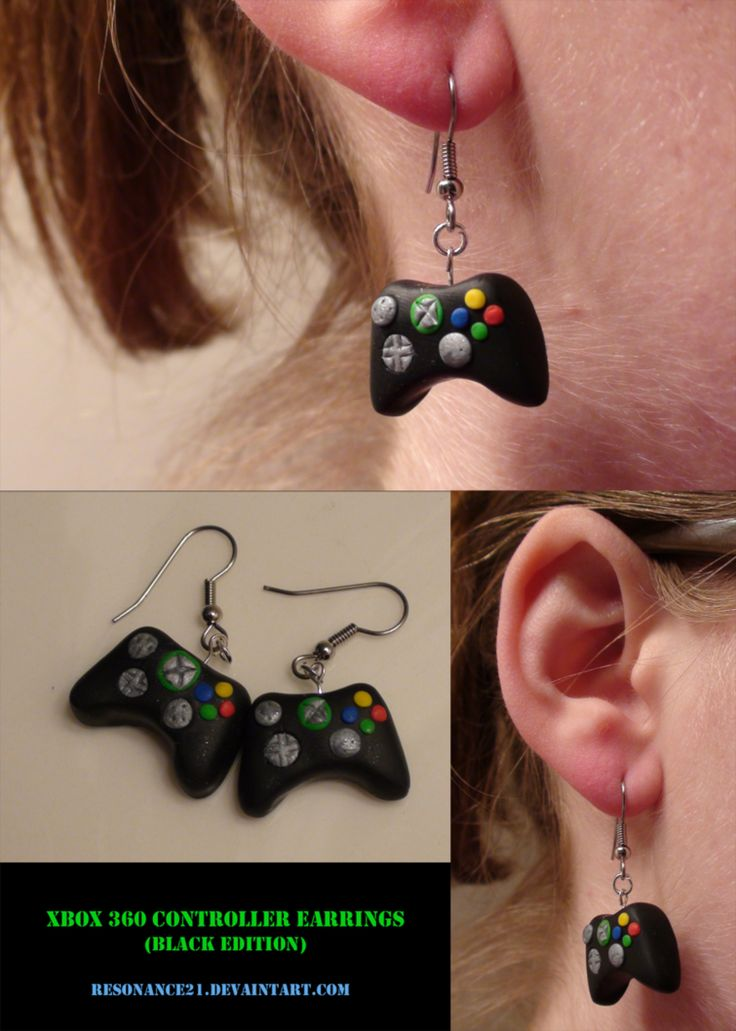 Xbox Controller Earrings Black: Multiple Views -- Another of my first clay creations