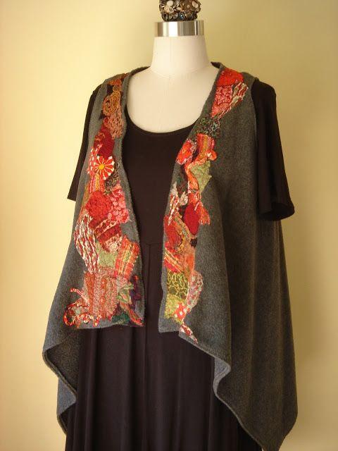 Gayle Ortiz: Vests- with kimono scraps!