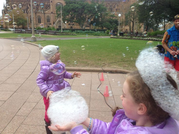 If you are in Hyde Park, Sydney on a weekend near the Archibald Fountain you are almost sure to see the bubble man - he gets a huge crowd as he send bubbles flying and kids race after thhem. So much fun to watch. When we are in that neck of the woods the kids beg us to see the bubble man.
