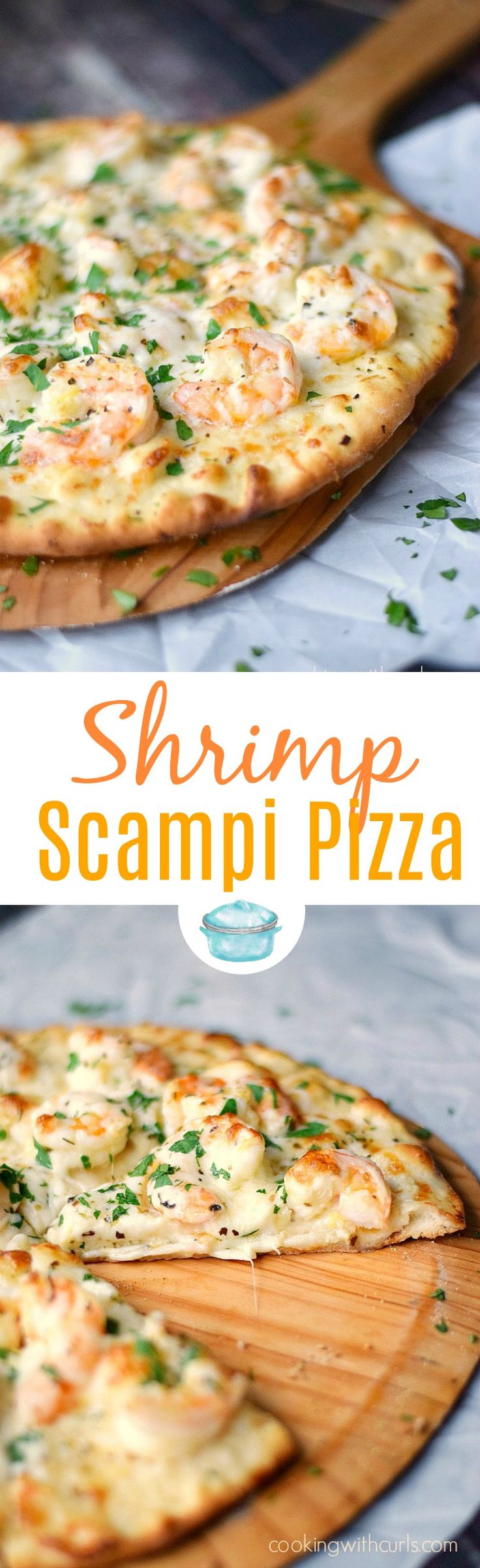Shrimp Scampi Pizza topped with a light garlic-lemon sauce, shrimp, and cheeses. #pizza #shrimp #pizzanight via @cookwithcurls